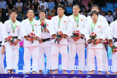 Japan team group (JPN), <br /> SEPTEMBER 23, 2014 - Judo : <br /> Men's Team victory ceremony <br /> at Dowon Gymnasium <br /> during the 2014 Incheon Asian Games in Incheon, South Korea. <br /> (Photo by Yohei Osada/AFLO SPORT)
