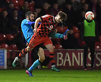 Fleetwood Town's Conor McLaughlin battles with Walsall's Joe Edwards<br /> <br /> Photographer Dave Howarth/CameraSport<br /> <br /> The EFL Sky Bet League One - Walsall v Fleetwood Town - Tuesday 14th March 2017 - Banks's Stadium - Walsall<br /> <br /> World Copyright &copy; 2017 CameraSport. All rights reserved. 43 Linden Ave. Countesthorpe. Leicester. England. LE8 5PG - Tel: +44 (0) 116 277 4147 - admin@camerasport.com - www.camerasport.com