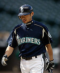 Seattle Mariners Ichiro Suzuki walks away from the batting cage after taking batting practice before their major league game against the Philadelphia Phillies at Safeco Field in Seattle, Washington Tuesday, 14 June 2005. Suzuki with 999 hits only needs one more to reach 1,000.  Jim Bryant Photo. ©2010. ALL RIGHTS RESERVED.