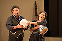 London, UK. 14.10.2014. English National Opera presents THE MARRIAGE OF FIGARO, directed by Fiona Shaw, at the London Coliseum. Picture shows:  David Stout (Figaro) and Mary Bevan (Susanna).  Photograph © Jane Hobson.