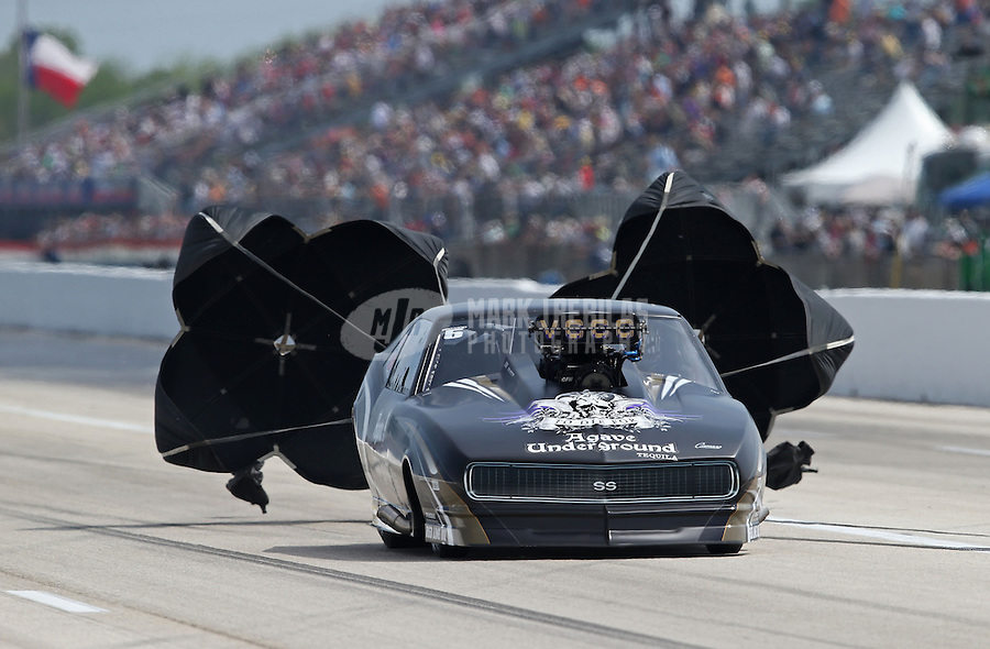 Apr. 26, 2013; Baytown, TX, USA: NHRA pro mod driver Danny Rowe during qualifying for the Spring Nationals at Royal Purple Raceway. Mandatory Credit: Mark J. Rebilas-