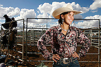 A Jillaroo (Cowboys female apprentice) is pictured at the National schools rodeo final in Dubbo, New South Wales..Rodeo is an integral part of rural Australian lifestyle and competitors travel great distances to compete on the circuit. Rodeo consists of many events ? ladies barrel race, saddle bronc riding, bull riding, bareback bronc riding, rope and tie, steer wrestling, team roping and the steer ride. .