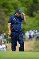 Phil Mickelson (USA) after sinking his putt on 11 during round 4 of the 2019 PGA Championship, Bethpage Black Golf Course, New York, New York,  USA. 5/19/2019.<br /> Picture: Golffile | Ken Murray<br /> <br /> <br /> All photo usage must carry mandatory copyright credit (© Golffile | Ken Murray)
