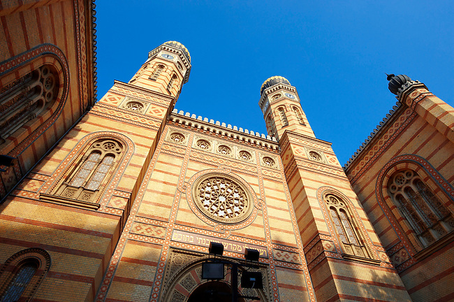 The Dohány Street  or Great Synagogue (nagy zsinagóga).  The Second largest Synagogue in the world built in Moorish Revival Style. Budapest, Hungary