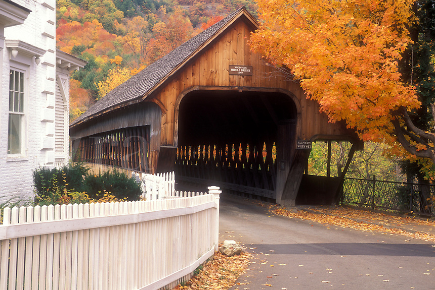 covered bridge, Woodstock, VT, Vermont, Middle Covered Bridge ca.1969 in the town of Woodstock in autumn.