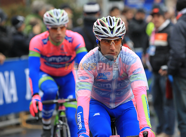 Ulissi Diego and Massimo Graziato (ITA) Lampre-Merida at the sign on before the start of the 104th edition of the Milan-San Remo cycle race at Castello Sforzesco in Milan, 17th March 2013 (Photo by Eoin Clarke 2013)