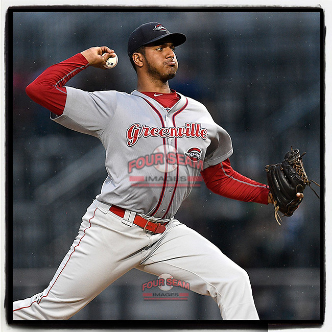 Pitcher Denyi Reyes (41) of the Greenville Drive delivers a pitch in the final inning of his nine-inning complete-game shutout against the Columbia Fireflies on Sunday, May 27, 2018, in Columbia, S.C. Greenville won, 3-0. It was the first in the SAL this season. (Tom Priddy/Four Seam Images)