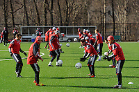 New York Red Bulls players run a drill during a New York Red Bulls practice on the campus of Montclair State University in Upper Montclair, NJ, on July 16, 2012.