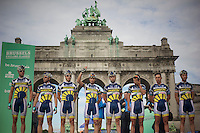 Team Vacansoleil-DCM team presentation in front of the Jubelpark Arches<br /> <br /> 1st Brussels Cycling Classic<br /> Brussels - Brussels: 197km