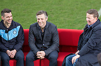 Wycombe Player Matt Bloomfield & Manager Gareth Ainsworth share the sofa with Bill Turnbull During BBC Breakfast as they air their live broadcast on Tuesday morning, presented by Bill Turnbull for his penultimate appearance on the programme at Adams Park, High Wycombe, England on 23 February 2016. Photo by Andy Rowland.