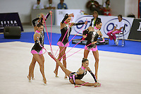 September 23, 2007; Patras, Greece;   Rhythmic group from Italy holds finishing pose of 5-ropes routine at 2007 World Championships Patras. Photo by Tom Theobald.