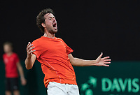 The Hague, The Netherlands, September 17, 2017,  Sportcampus , Davis Cup Netherlands - Chech Republic, Robin Haase (NED) wins the fout rubber and equals the score 2-2 .<br /> Photo: Tennisimages/Henk Koster