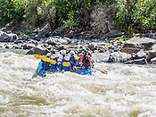 Nova Guides crashing The Wall & Man-Eater Rapids while running Shoshone in Glenwood Canyon on the Colorado River on the morning of August 7, 2014.