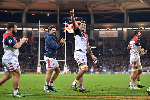 12.11.2016. Stadium Toulouse, Toulouse, France. Autumn International rugby match, France versus Samoa.  Sebastien Vahaamahina (fra) celebrates their win