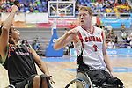 November 18 2011 - Guadalajara, Mexico:  Patrick Anderson of Team Canada defends in the CODE Alcalde Sports Complex at the 2011 Parapan American Games in Guadalajara, Mexico.  Photos: Matthew Murnaghan/Canadian Paralympic Committee