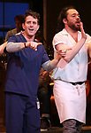 "Benny Elledge with Joey McIntyre during his debut bows in Broadway's  ""Waitress"" at The Brooks Atkinson Theatre on February 4, 2019 in New York City."