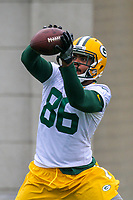 Green Bay Packers tight end Aaron Peck (86) during an Organized Team Activity on May 23, 2017 at Clarke Hinkle Field in Green Bay, Wisconsin.  (Brad Krause/Krause Sports Photography)