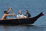 Canoe Journey, Paddle to Nisqually, 2016, Suquamish Tribe, Suquamish coanoes,  arriving in Olympia, Washington, 7-30-2016, Salish Sea, Puget Sound, Washington State, USA,