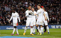 Pictured: (L-R) Nathan Dyer, Jonathan De Guzman, Pablo Hernandez, Ben Davies, Wayne Routledge. Sunday 24 February 2013<br /> Re: Capital One Cup football final, Swansea v Bradford at the Wembley Stadium in London.