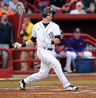 Outfielder Evan Marzilli (31) of the South Carolina Gamecocks in a game against the Clemson Tigers on March 3, 2012, at Carolina Stadium in Columbia, South Carolina. South Carolina won, 9-6. (Tom Priddy/Four Seam Images)