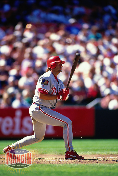 SAN FRANCISCO, CA - Darren Daulton of the Philadelphia Phillies bats during a game against the San Francisco Giants at Candlestick Park in San Francisco, California on April 21, 1994. Photo by Brad Mangin