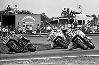 Russell Paulk (#351 Suzuki), Roger Hurst (#607 Yamaha), Trevor Nation (#617 Yamaha), Daytona 200, Daytona International Speedway, March 8, 1987.  (Photo by Brian Cleary/bcpix.com)