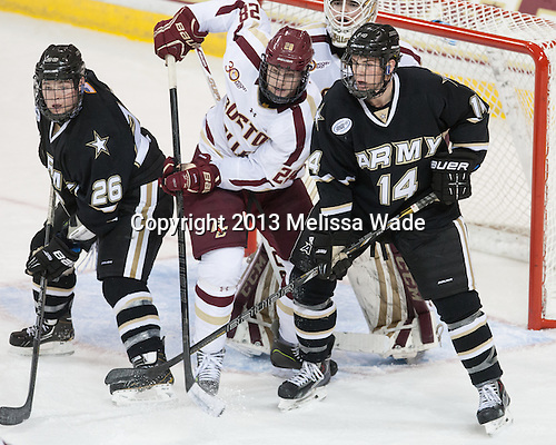Shane Hearn (Army - 26), Scott Savage (BC - 28), Joe Kozlak (Army - 14) - The Boston College Eagles defeated the visiting Army Black Knights 11-0 on Sunday, November 10, 2013, at Kelley Rink in Conte Forum in Chestnut Hill, Massachusetts.