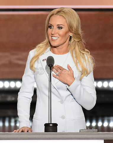 Professional Golfer Natalie Gulbis makes remarks at the 2016 Republican National Convention held at the Quicken Loans Arena in Cleveland, Ohio on Tuesday, July 19, 2016.<br /> Credit: Ron Sachs / CNP/MediaPunch<br /> (RESTRICTION: NO New York or New Jersey Newspapers or newspapers within a 75 mile radius of New York City)