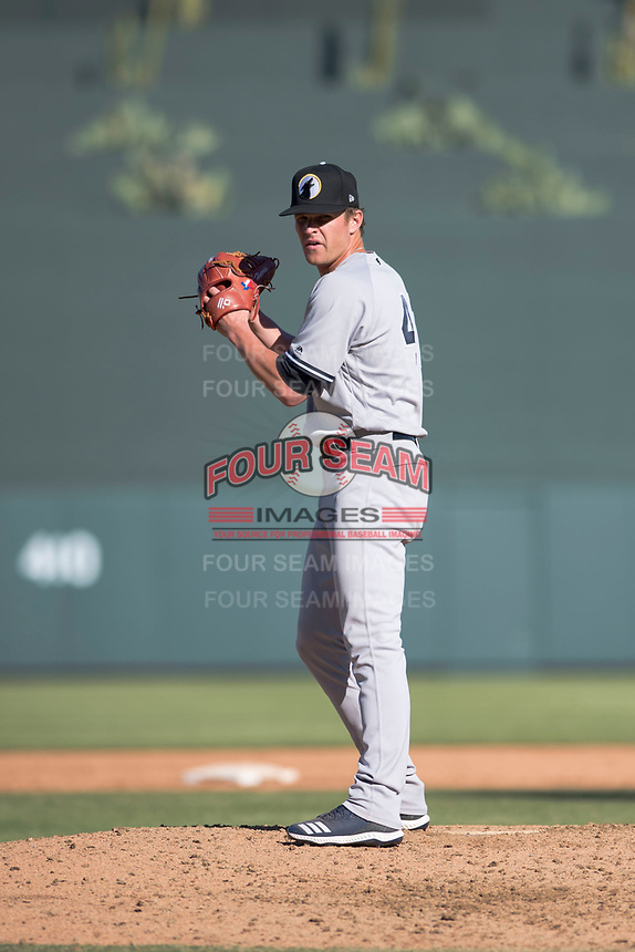 Glendale Desert Dogs relief pitcher Hobie Harris (41), of the New York Yankees organization, gets ready to deliver a pitch during an Arizona Fall League game against the Salt River Rafters at Salt River Fields at Talking Stick on October 31, 2018 in Scottsdale, Arizona. Glendale defeated Salt River 12-6 in extra innings. (Zachary Lucy/Four Seam Images)