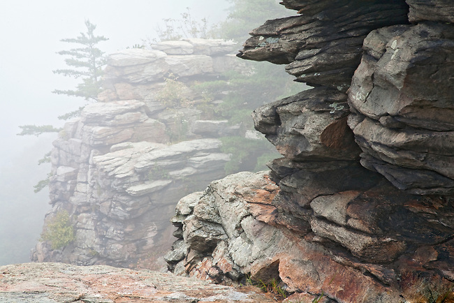Fog rocks at Maryland Heights, Harpers Ferry National Historical Park