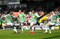 Randell Williams of Wycombe Wanderers second left scores the first goal during Yeovil Town vs Wycombe Wanderers, Sky Bet EFL League 2 Football at Huish Park on 14th April 2018