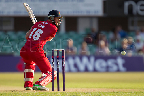 11.07.2014. Leicester, England. NatWest T20 Blast, Leicestershire Foxes vs Lancashire Lightning. J CLARK (Lancashire Lightning) watches a cut go for four.