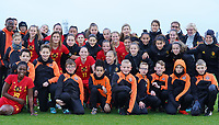 20191101 - Tubize: Belgian players celebrating their win with technical staff and ball boys  pictured after the international friendly match between Red Flames U16 (Belgium) and Norway U16 on 1 November 2019 at Belgian Football Centre, Tubize. PHOTO:  SPORTPIX.BE   SEVIL OKTEM
