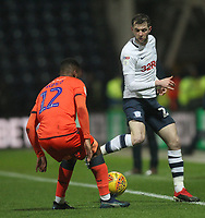 Preston North End's Tom Barkuizen in action with Millwall's Mahlon Romeo<br /> <br /> Photographer Mick Walker/CameraSport<br /> <br /> The EFL Sky Bet Championship -  Preston North End v Millwall - Saturday 15th December 2018 - Deepdale-Preston<br /> <br /> World Copyright &copy; 2018 CameraSport. All rights reserved. 43 Linden Ave. Countesthorpe. Leicester. England. LE8 5PG - Tel: +44 (0) 116 277 4147 - admin@camerasport.com - www.camerasport.com