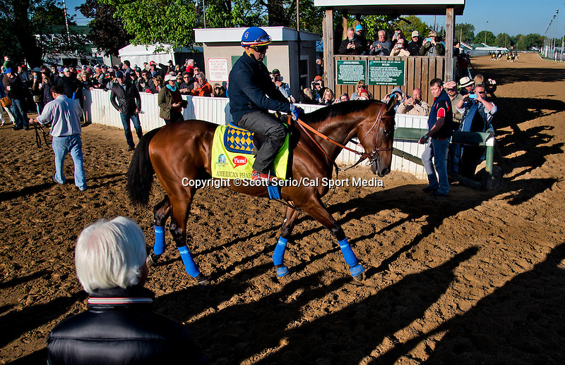 April 28, 2015: Trainer Bob Baffert watches American Pharoah enter the track to exercise in preparation for the 141st running of the Derby at Churchill Downs in Louisville, Kentucky. Scott Serio/CSM