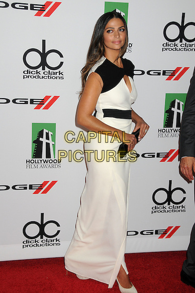 Camila Alves<br /> 17th Annual Hollywood Film Awards Gala held at the Beverly Hilton Hotel, Beverly Hills, California, USA.<br /> October 21st, 2012<br /> full length dress side belt clutch bag white black cape <br /> CAP/ADM/BP<br /> &copy;Byron Purvis/AdMedia/Capital Pictures