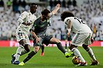Real Madrid's Vinicius Jr. (L) and Marcelo Vieira (R) and Real Sociedad's Adnan Januzaj fight for the ball during La Liga match between Real Madrid and Real Sociedad at Santiago Bernabeu Stadium in Madrid, Spain. January 06, 2019. (ALTERPHOTOS/A. Perez Meca)<br />  (ALTERPHOTOS/A. Perez Meca)