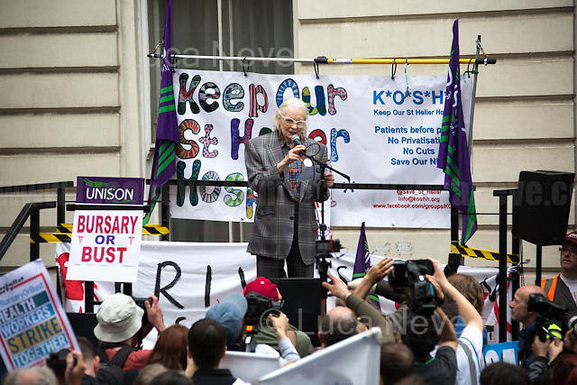 Dame Vivienne Westwood (English fashion designer, businesswoman and activist; largely responsible for bringing modern punk and new wave fashions into the mainstream, DBE, RDI).<br /> <br /> London, 04/06/2016. Today, hundreds of people, including doctors, student nurses, midwives, junior doctors and other healthcare professionals marched from the Saint Thomas Hospital to the Department of Health in Whitehall to protest against the Conservative Government's plan to scrap bursaries for nursing and midwifery students from 2017. The demonstration was organised by the &quot;NHS Bursary Cuts Forum&quot; and supported by trade unions and other organizations fighting against the plan to privatise the NHS (National Health Service).<br />  <br /> For more information please click here: https://www.facebook.com/events/1020899857963987/