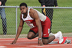 Jeshua Anderson, Washington State junior, prepares for the start of his specialty, the 400 meter hurdles, during the Cougars dual track and field meet with arch-rival Washington at Mooberry Track at Washington State University in Pullman, Washington, on May 1, 2010.