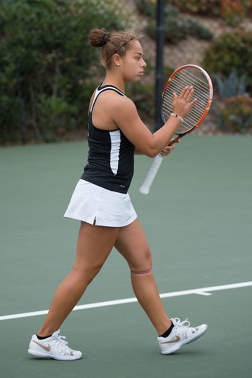 April 22, 2015; San Diego, CA, USA; Santa Clara Broncos tennis player Daniella Silva during the WCC Tennis Championships at Barnes Tennis Center.