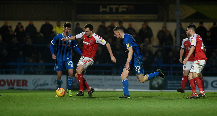 Fleetwood Town's James Wallace battles with  Rochdale's Ethan Hamilton<br /> <br /> Photographer Hannah Fountain/CameraSport<br /> <br /> The EFL Sky Bet League One - Rochdale v Fleetwood Town - Saturday 19 January 2019 - Spotland Stadium - Rochdale<br /> <br /> World Copyright &copy; 2019 CameraSport. All rights reserved. 43 Linden Ave. Countesthorpe. Leicester. England. LE8 5PG - Tel: +44 (0) 116 277 4147 - admin@camerasport.com - www.camerasport.com