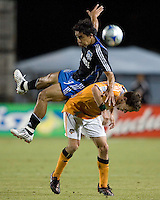 22 May 2008: Ivan Guerrero of the Earthquakes fights for the ball against Richard Mulrooney of the Dynamo during the second half of the game at Buck Shaw Stadium in San Jose, California.   San Jose Earthquakes defeated Houston Dynamo, 2-1.