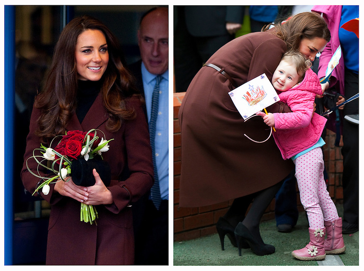 Catherine, Duchess of Cambridge visits Alder Hey Children's Hospital. Catherine wore a Hobbs 'Celeste' Coat in Chestnut Brown..Tel: 07515 876520.e mail: info@kisforkate.com