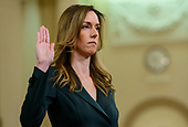 Jennifer Williams, Special Advisor for Europe and Russia, Office of the Vice President, is sworn-in to testify during the US House Permanent Select Committee on Intelligence public hearing as they investigate the impeachment of US President Donald J. Trump on Capitol Hill in Washington, DC on Tuesday, November 19, 2019.<br /> Credit: Ron Sachs / CNP<br /> (RESTRICTION: NO New York or New Jersey Newspapers or newspapers within a 75 mile radius of New York City)