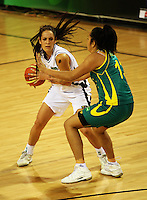 Ferns forward Natalie Purcell is marked by Eva Afeaki during the International women's basketball match between NZ Tall Ferns and Australian Opals at Te Rauparaha Stadium, Porirua, Wellington, New Zealand on Monday 31 August 2009. Photo: Dave Lintott / lintottphoto.co.nz