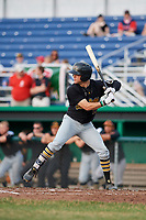 West Virginia Black Bears center fielder Travis Swaggerty (13) at bat during a game against the Batavia Muckdogs on July 2, 2018 at Dwyer Stadium in Batavia, New York.  West Virginia defeated Batavia 3-1.  (Mike Janes/Four Seam Images)