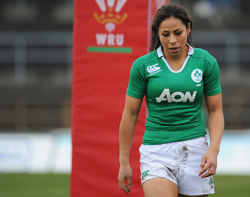 Ireland&rsquo;s Sene Naoupu in action during todays match<br /> <br /> Photographer Kevin Barnes/CameraSport<br /> <br /> International Womens Rugby Union - 2015 Women&rsquo;s RBS Six Nations - Wales Women v Ireland Women - Sunday 15th March 2015 - St Helen's - Swansea<br /> <br /> &copy; CameraSport - 43 Linden Ave. Countesthorpe. Leicester. England. LE8 5PG - Tel: +44 (0) 116 277 4147 - admin@camerasport.com - www.camerasport.com