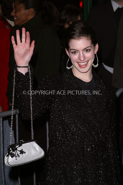 "Anne Hathaway arrives at the special screening of ""Chicago."" New York, December 18, 2002. Please byline: NY Photo Press. REF: M19 -- THIS REFERENCE CODE MUST APPEAR ON YOUR SALES REPORT, THANK YOU.....*PAY-PER-USE*      ....NY Photo Press:  ..phone (646) 267-6913;   ..e-mail: info@nyphotopress.com"