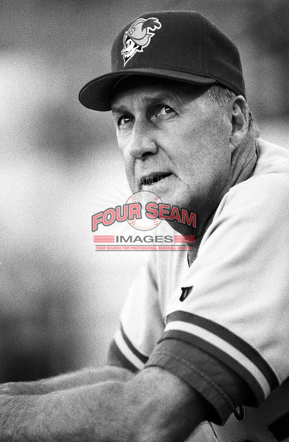 Phil Regan of the Albuquerque Dukes at Cashman Field in Las Vegas, Nevada during the 1996 season. (Larry Goren/Four Seam Images)
