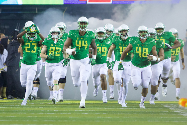 Oct 07, 2015; Eugene, OR, USA; Oregon Ducks defensive lineman DeForest Buckner (44) leads the Ducks out of the tunnel before playing California Golden Bears at Autzen Stadium. <br /> Photo by Jaime Valdez